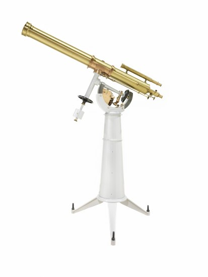 Photograph in color showing a telescope.