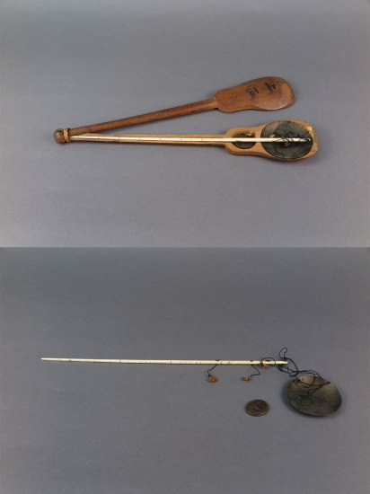 Two images juxtaposed. On the top is a thin wooden case that is guitar-shaped. The top half is moved over and inside are cased two shallow metal scales with a white rod and string.