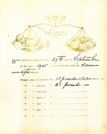 A washed out piece of paper that shows a baby being weighed on a scale opposite bags of gold. There is text with fill-in blanks. Someone filled in several of the lines with bold, black cursive
