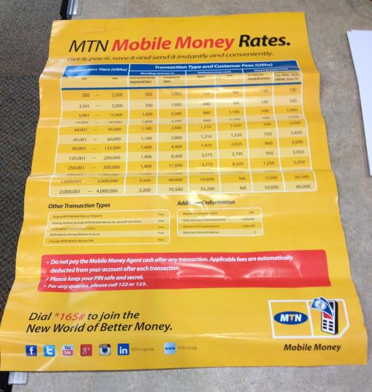 Yellow poster advertisement with rates