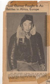 "Photo of newspaper clipping with headline ""Nisei Gunner Fought in Air Battles in Africa, Europe"""