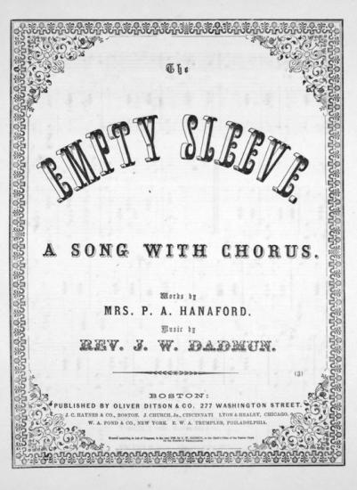 "Sheet music cover with fancy geometric border and text saying ""The Empty Sleeve"" in ornate typeface."