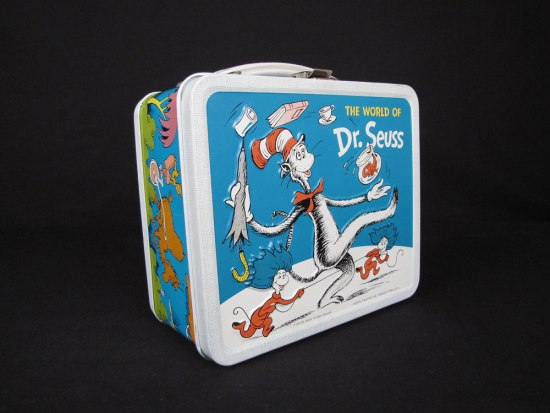 "A metal lunch box decorated with illustration of the Dr. Seuss story, ""The Cat in the Hat"""