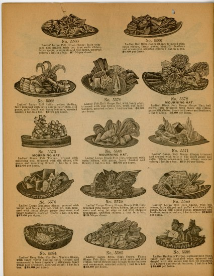Page from catalog advertising 14 different hats. Three are identified as mourning hats. All the illustrations are in black and white. Each hat has elaborate decorations, including ribbons and feathers.
