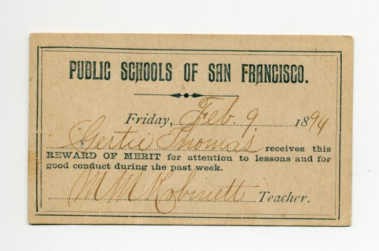 """Simple document with no ornamentation that says """"Public schools of San Francisco"""" dated Feb. 9, 1894."""