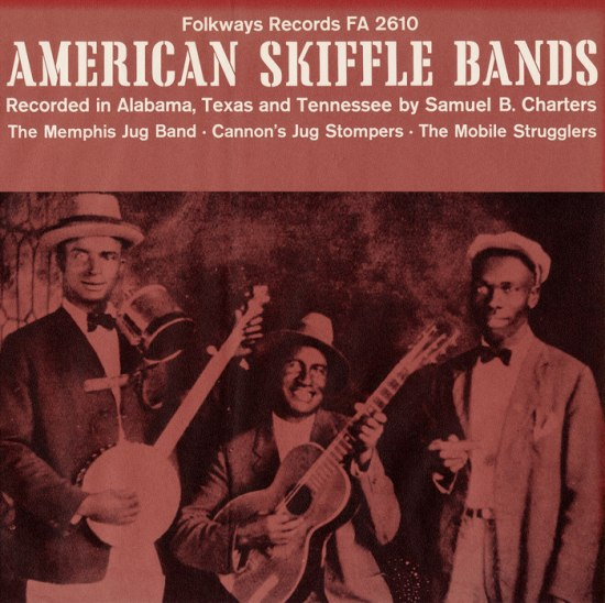 "The album cover for the ""American Skiffle Bands"" It is red with white lettering and an illustration of three men with musical instruments on it"