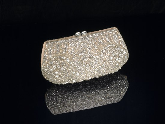 Small clamshell purse with gem clasps. Covered in shiny white diamond-like stones and white-almost-pink pearls.