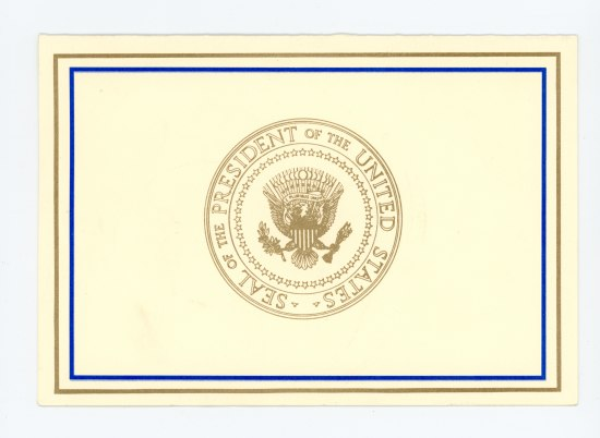 "Card from from the show ""The West Wing."" Presidential Seal and blue border."