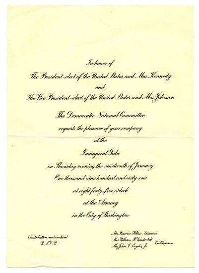 A formal invitation written in cursive for Ella Fitzgerald from the President and Vice President to attend the Inaugural Gala