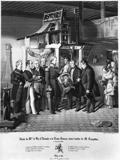A black and white print showing a number of men standing indoors around a large wooden structure.