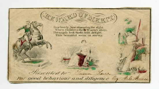 "Rectangular illustrated document with ""Reward of Merit"" text. In center, a woman in a scene with a ship. On left, man on horse--possibly George Washington. On right, woman in a scene that is difficult to discern."
