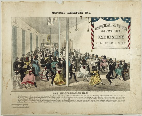 A cartoon showing a large hall with white men and black women dancing. The women are wearing white or brightly-colored ball gowns and in several cases are openly canoodling with the white men who accompany them. A number of the couples seem to be dancing quite spiritedly. Many of the party-goers are smiling and.