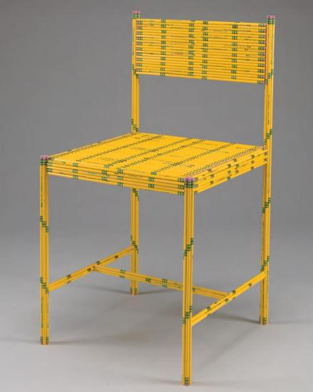 Chair made of 50 yellow pencils