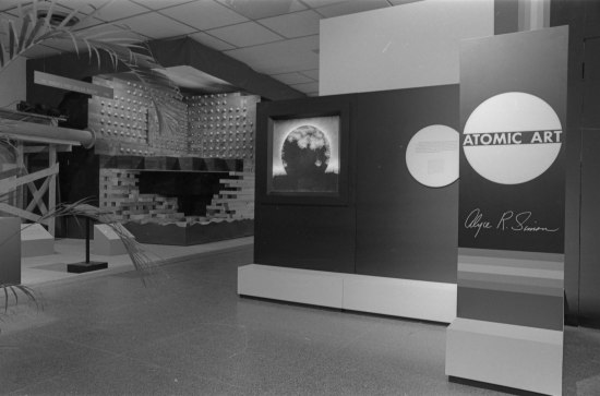 Black and white photo of entrance to exhibition