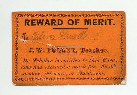 """Rectangular orange document with """"Reward of Merit."""""""