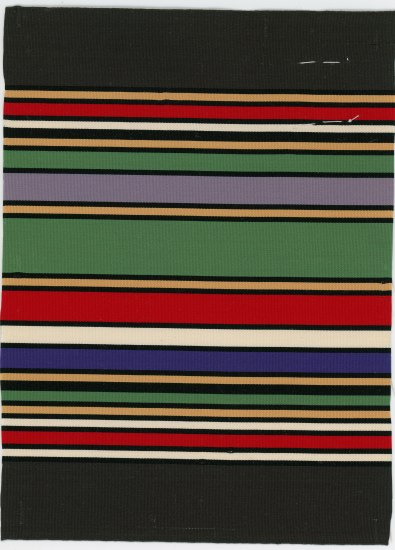 Piece of ribbon with horizontal stripes of varying width. They are green, yellow, blue, white, and red.