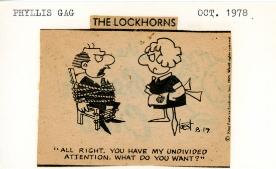 "An old piece of paper with ""Oct. 1978"" typed in the upper righthand corner. Pasted on is a Lockhorns cartoon cut out of a newspaper"