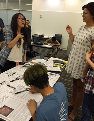 Teens working on comics