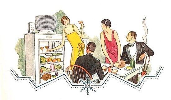 A color illustration of two couples, presumably in a kitchen, in dinnerware marveling at a refridgerator. One woman in a yellow dress in the style of the 20s holds a martini glass in her hand and reaches into the fridge for another. There are various foodstuffs on other shelves. Another woman in a red dress cuts bread on a table. The two men in the illustration are seated wearing tuxes. At the bottom of the picture there is an illustrated snowflake.