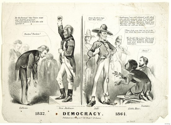 A print that juxtaposes the artist's idea of democracy in 1832 and 1864. In 1832, a man called Calhoun bows to Andrew Jackson, who has his fist balled in the air. On the right side, Jefferson Davis (with busted shows and looking worse for wear), looks down upon two men pleading before him. All of the major figures of the piece have small labels and there is dialogue throughout signified by speech bubbles.