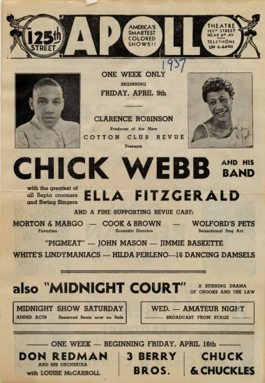 The poster is a text-heavy broadside with the names of various performers at the Apollo for the week beginning April 09, 1937 with two prominent photos of Chick Webb and Ella Fitzgerald.