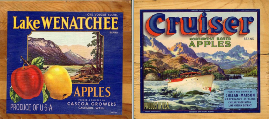 Two wooden panels are juxtaposed. They each have a large label attached advertising apples. They feature illustrations of lakes nestled between mountains and have bold, colorful fonts.