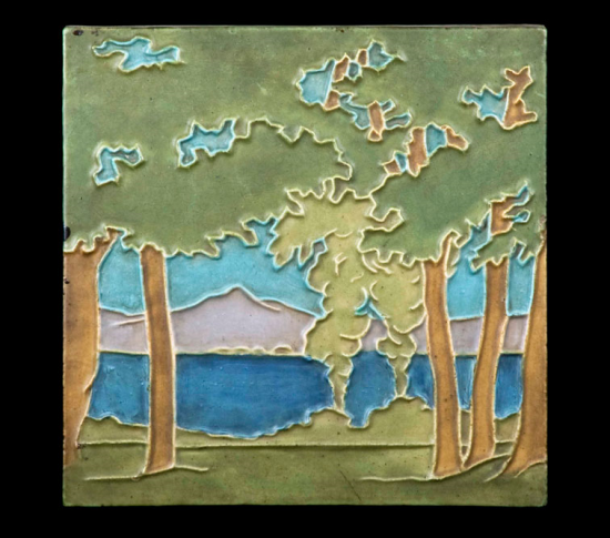 A square object depicting trees in front of a lake with mountains in the background and a turquoise sky. The edges are very white and distinct.