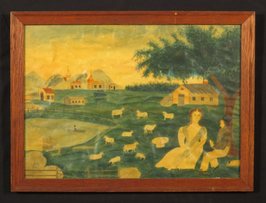 A painting in a brown wooden border. Two people sit in the grass under a tree in a rich green meadow. Sheep graze and buildings and homes can be seen stretching into the background. A short fence surrounds a lake next to the sheep. A man sits in a boat with oars.