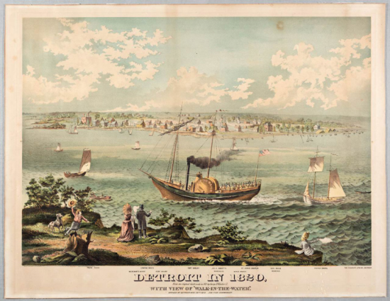 A print on yellowed paper. There is a body of water on which there are boats. Land is in the background, which is littered with small structures. There are people overlooking the water on the land in the foreground.