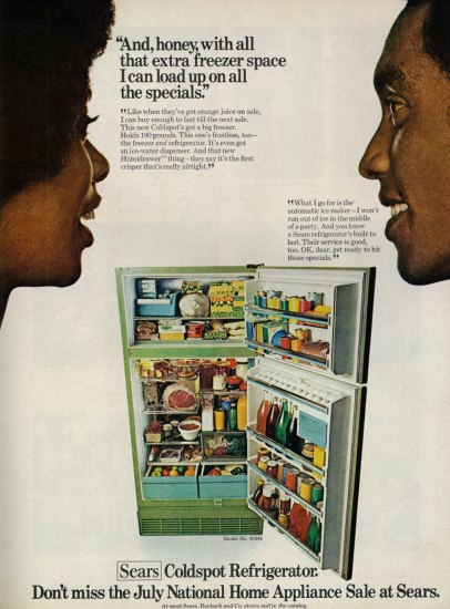 Fridge advertisement with a photo of a very full fridge and a husband and wife talking to each other.