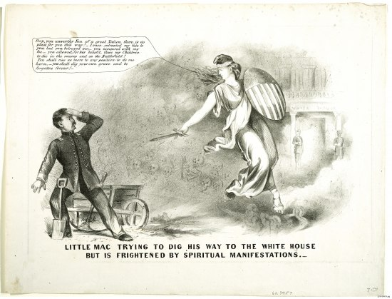 "A print in which a man in soldier's clothes called ""Little Mac"" is stepped back from a shovel, his hand on his forehead in shock as he looks upon a woman in classical flowing robes, holding a shield of stars and stripes, a diadem reading ""Liberty"" on her brow. She has a speech in the upper left hand in a speech bubble as she brandishes a sword in his direction. She admonishes him and threatens him for his transgressions. On eof the porticoes to the White House and faintly be seen behind her and she floats in front of a cloud in which some skeletons are visible, watching him raptly."