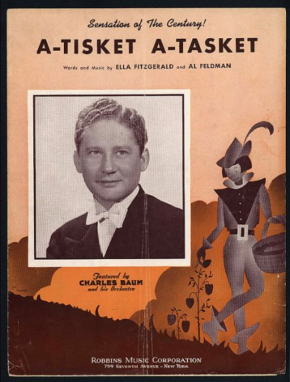 The cover to sheet music. It is varying shades of orange and depicts an illustrated man in Peter Pan-like garb standing next to a plant. There is a portrait of a man on the left side of the page. There is text for the title and artists.