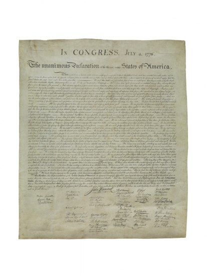 An 1800s print of the Declaration of Independence that precisely recreates the original document, including its signatures.
