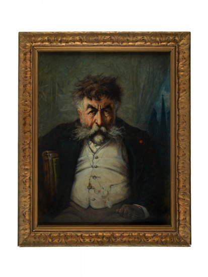 Painting in a gold frame. The self-portrait of Thomas Nast depicts Nast slumped and haggard, gazing out at the viewer in a rumpled suit. Behind him, a green curtain has been drawn back slightly to reveal a fraction of a cityscape. The most prominent architectural feature is a church steeple topped with a crucifix.
