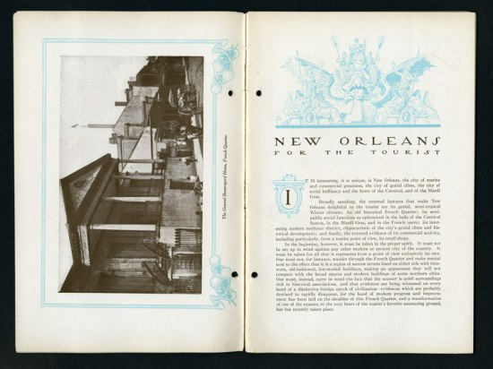 "Scan of book. Left page shows photograph of The General Beauregard Home in New Orleans. Right page has text and title, ""New Orleans For the Tourist"""
