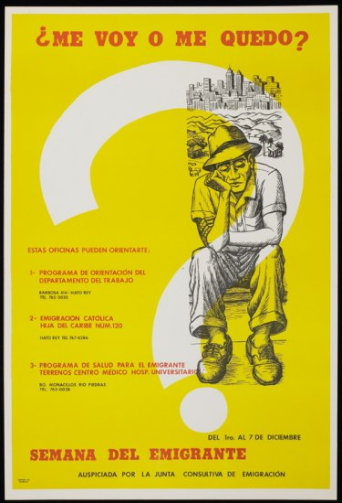 A yellow poster of a dejected man with a large white question mark. He sits in front of views of country hills and a city. There is text in Spanish in black and red throughout the poster.