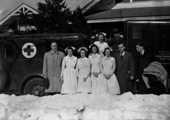 Dr. Charles Drew (left), inventor of the blood bank, and a medical team. He received a patent for his method of preserving blood, which helped save thousands of lives during World War II.