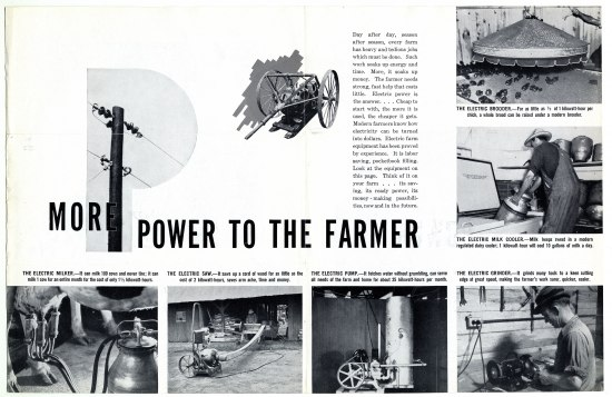 "Publication in black and white with text ""More power to the farmer"" and photos of farmer using equipment"