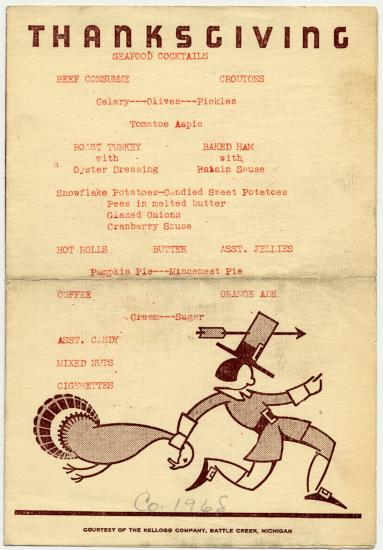 Menu for Thanksgiving with cartoon, stylized image of a stereotypical pilgrim grabbing a turkey by the neck