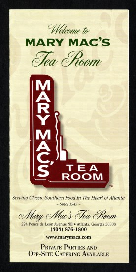 The cover to a menu, presumably, for Mary Mac's Tea Room.