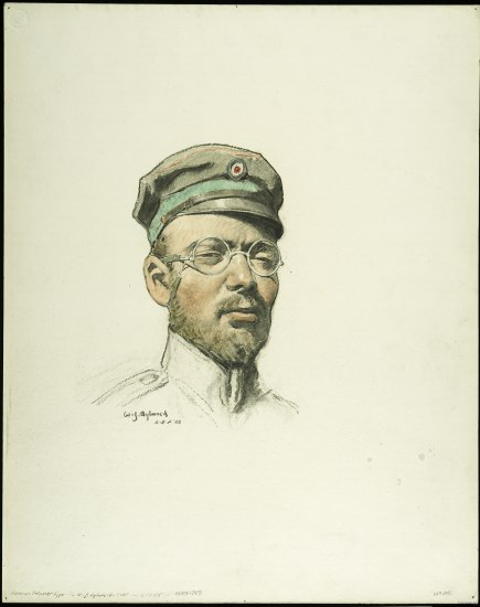 A portrait of a  man in an olive uniform hat with a green ribbon around the band. He wears wire-ribbon glassed and the collar of his shirt is partially sketched out