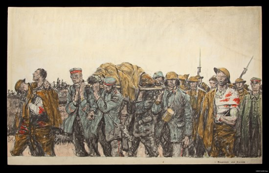 An artwork that depicts men in military uniforms walking in a group. Some are injured with bandages and one lies on a stretcher carried by other soldiers.