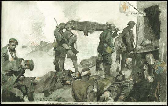 An artwork in shades of grey depicting solders. Some are seated and a few walk holding a stretcher. Many of the people are wearing bandages. There is a structure with an open door and a flag with a red cross on it.