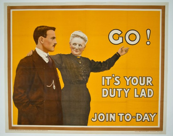 "Poster with striking orange background. Color illustration of a young man with hand in pocket and mother with arm raised. Text: ""Go! It's your duty lad. Join to-day."""