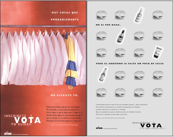 Collage of two Spanish-language ads created for the VOTO campaign, 1990s. The ad on the left show a closet filled with white shirts and a single multi-colorer shirt with ruffled sleeves. The right ad has a call to action and shows black-and-white photos of cheeseburgers alongside several different bottles of hot sauces and spices.