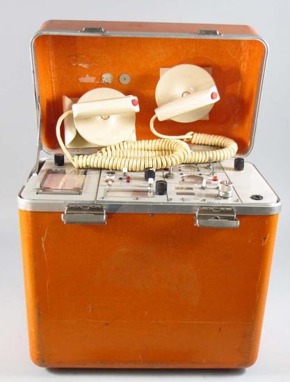 Photo of defibrillator in orange case