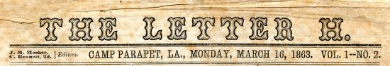The top of a page of a portion of yellowed newspaper with the title