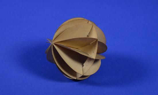 Paper mathematical model on blue background, three dimensional