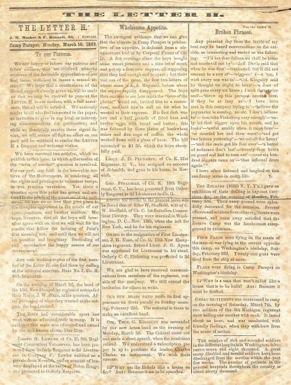 A full page from a yellowed newspaper. There are three columns and a title at the top.