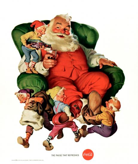 Advertisement for Coca-Cola featuring Santa and elves